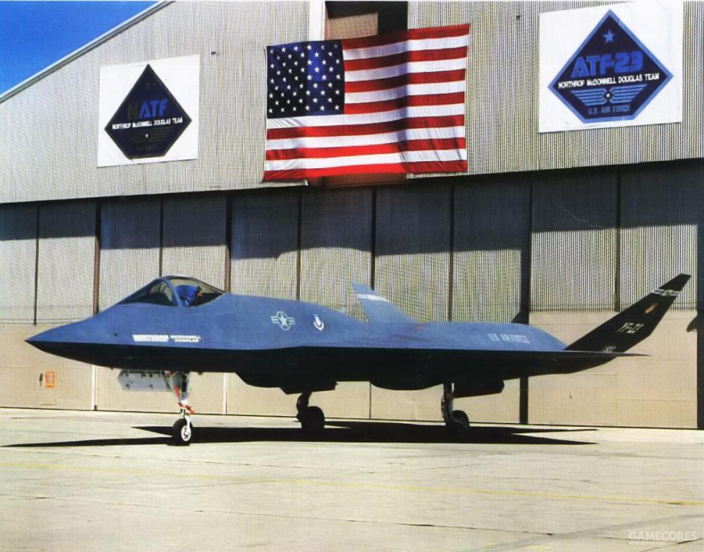 """1990年6月22日,诺斯罗普特地临时中断YF-23试飞准备工作,在爱德华空军基地进行了一场出厂仪式,虽然该机真正意义上的""""出厂""""早在1989年末,不过拆开运到空军基地再重新组装的过程消耗了太多时间"""
