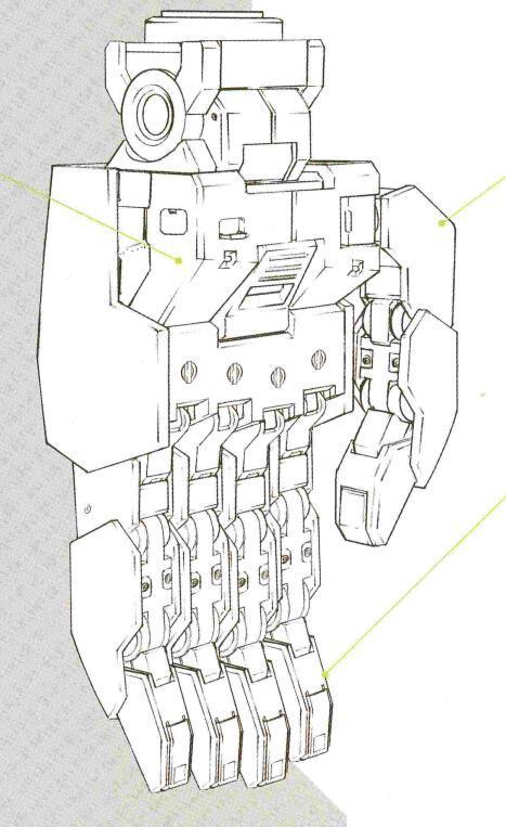 手掌部分的马达动作精度大幅降低。类似RX-78那种能无伤抓起生命体级别的动作精度对于量产型MS来说并无必要。