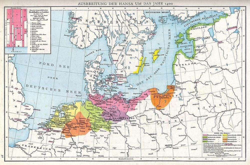 14世纪汉萨同盟的势力范围
