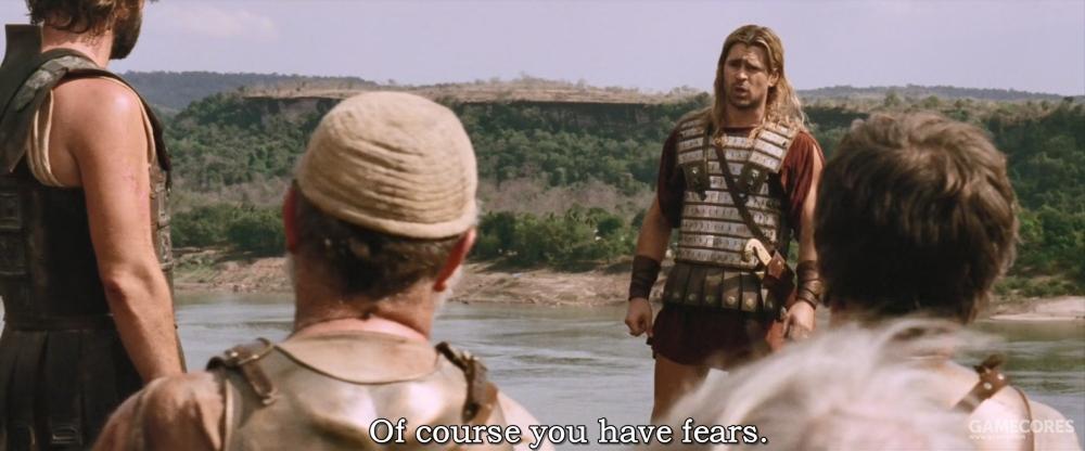 片中在海达斯佩斯河畔马其顿军队反叛了,但是实际上当时还没有