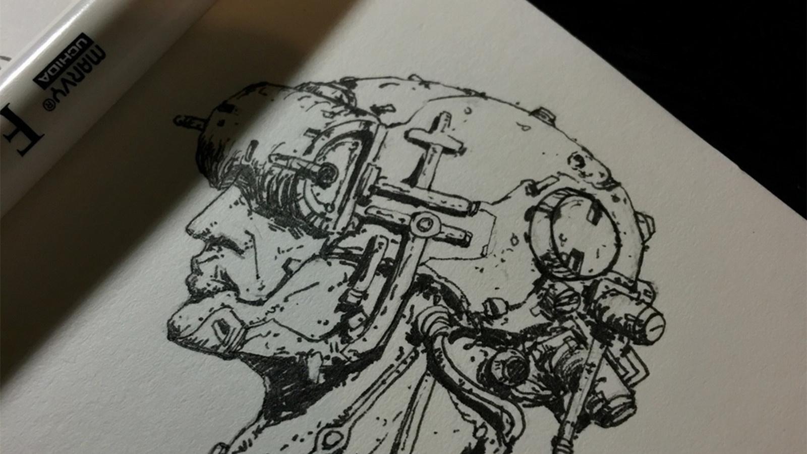 紙上的機甲夢:我的科幻概念設計手稿原畫