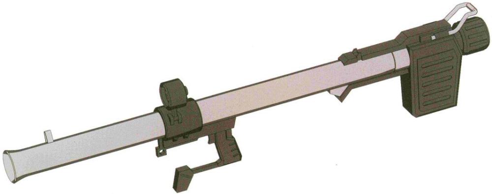 HB-L-03/N-TSD无后坐力炮。基本上完全继承了RX-78所用的XHB-L-03无后坐力炮的设计。能发射多种弹药。因为弹药飞行速度问题,一般主要用于对付低速或固定的硬目标。