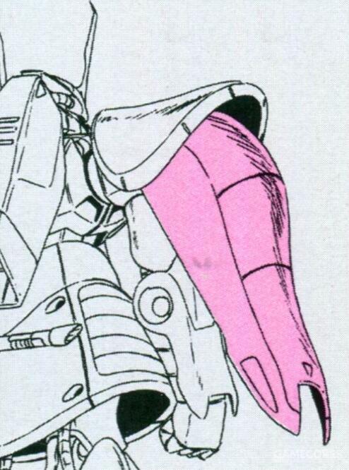 由于分成了两段,MSK-008的肩部护盾对于手臂的活动性能影响明显小于MS-06的肩盾。