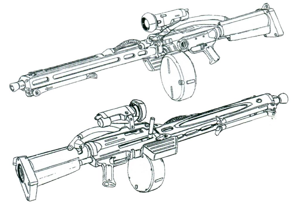 MNB-110另一非正式编号为MRB-110。在保证了传统光束步枪良好的单发射击威力和精度的同时,通过冷却剂压制热量,该武器拥有一年战争时期光束武器难得一见的连射能力。不过搭载在枪托部位的冷却剂容量有限,一旦耗完就只能进行单发设计。MNB-110的整