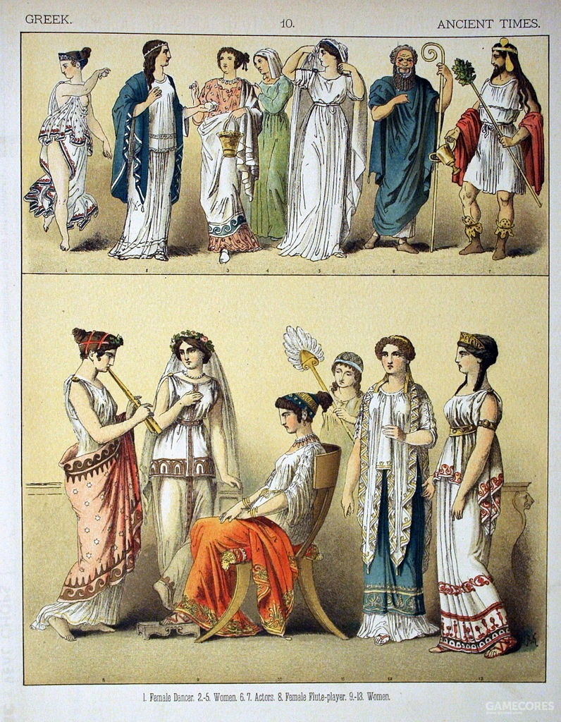 "Ancient Greek's costumes, from ""The Costumes of All Nations"" by Albert Kretschmer & Dr. Carl Rohrbach, 1882"