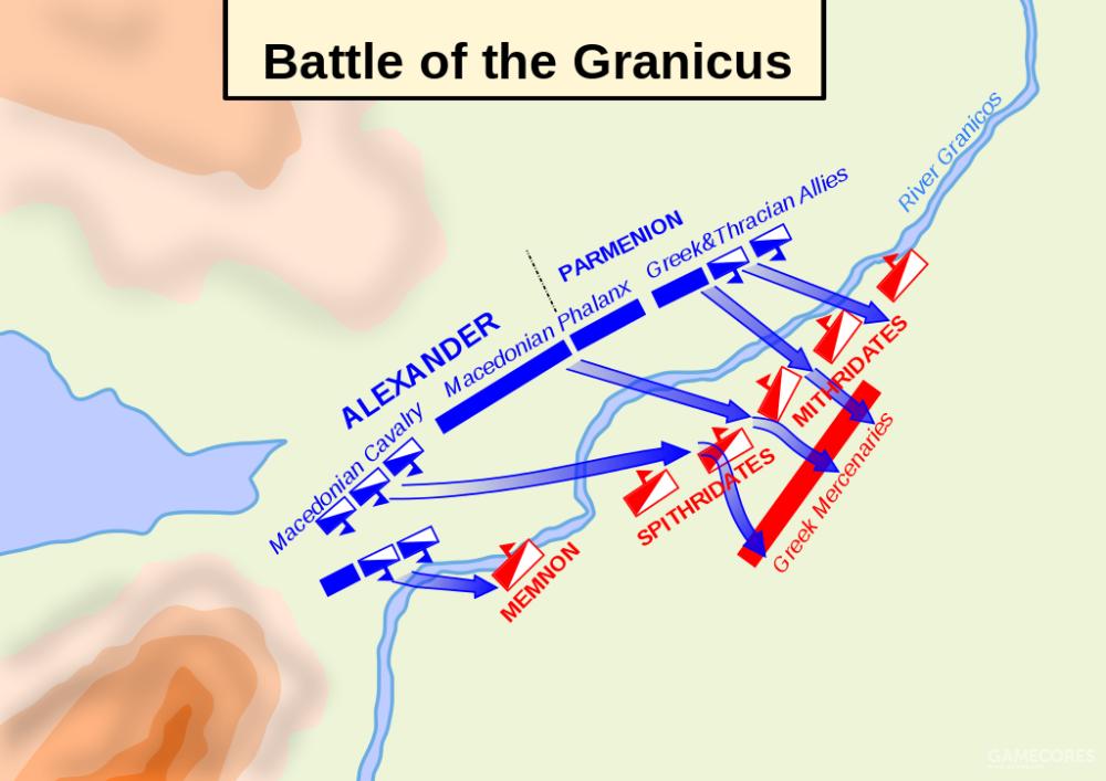 格拉尼库斯河之战第一阶段:马其顿渡河迎击波斯