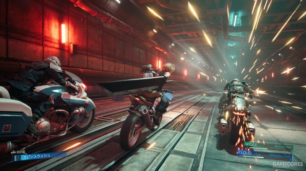 载着洁西逃离神罗追捕的摩托车战。