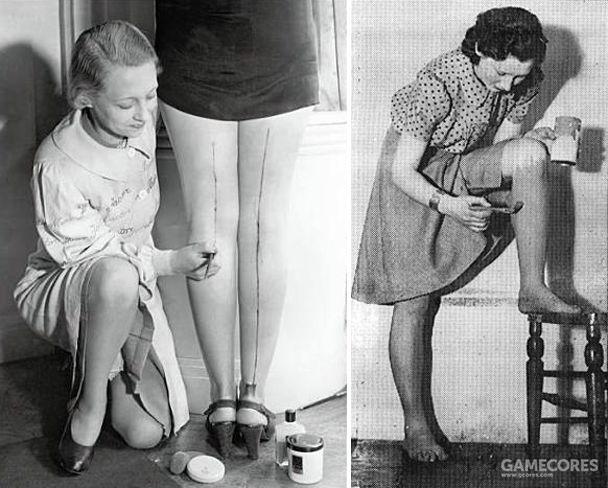 买不起尼龙丝袜的女性,会在腿上涂上颜料,三毛流浪记中也有类似的桥段