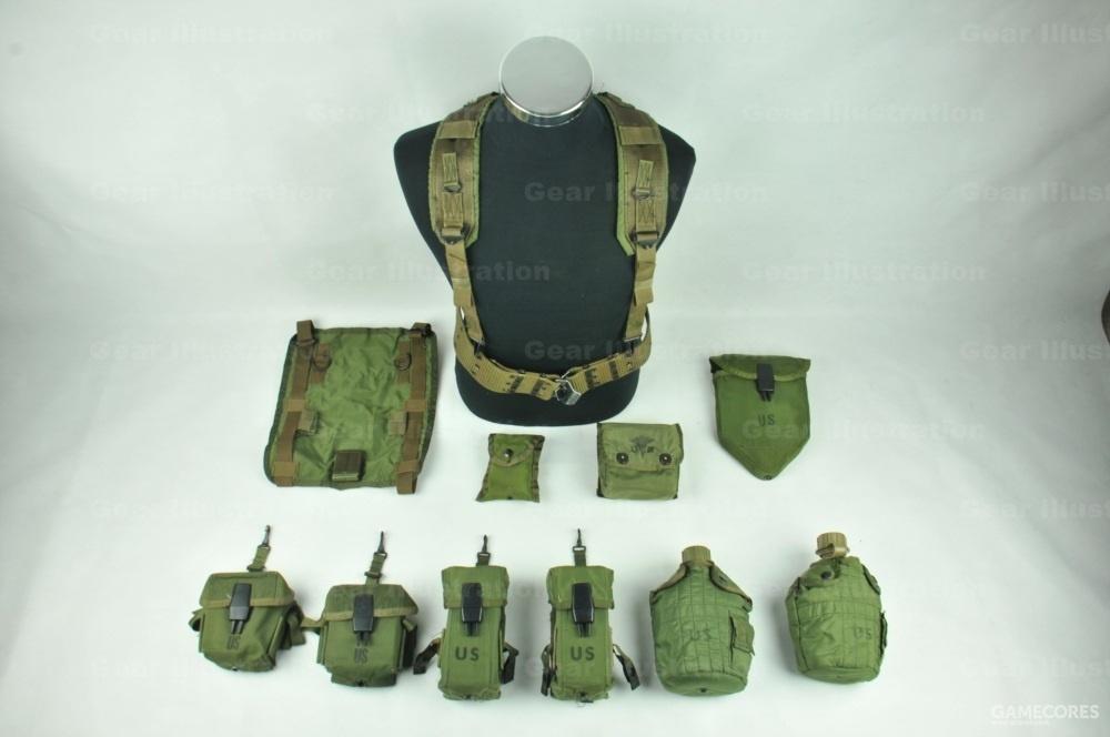 M-1967 LLCE全套装具。注意其中的30发弹匣包和医疗包并不在装具系统内