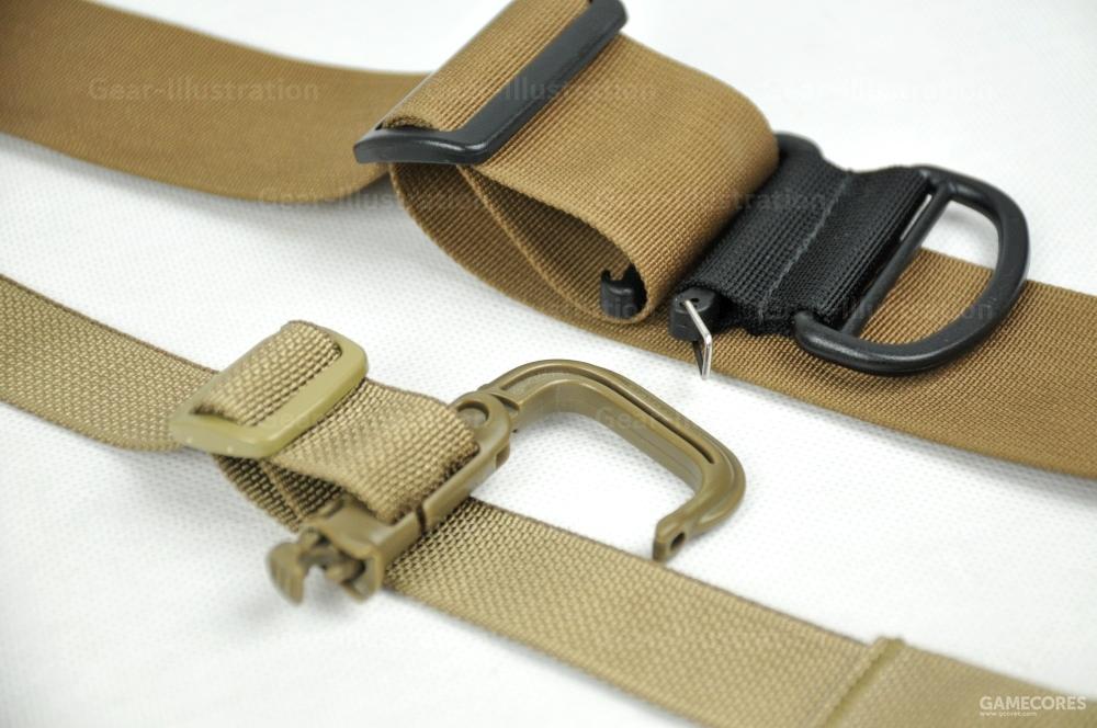 第三步:将环扣穿过背带环部分锁住,背带两端用力收紧,这个扣环即可成为一个不会滑动的稳固挂载点