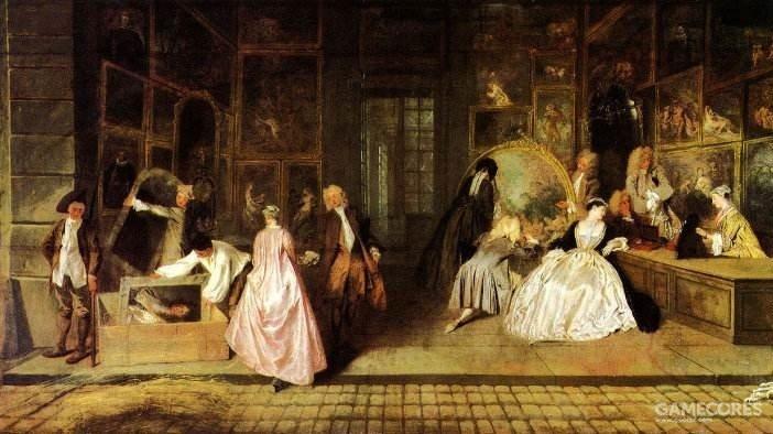 《热尔桑画店》 左下角就是路易十四的肖像