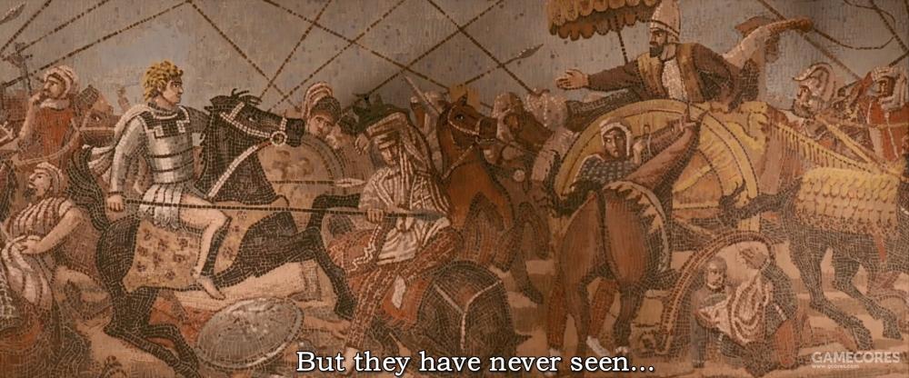 电影《亚历山大》里也出现过这幅画,不过画风有略微变化。一般认为,罗马人的复制品在画风上可能和原本的希腊画风有略微差异