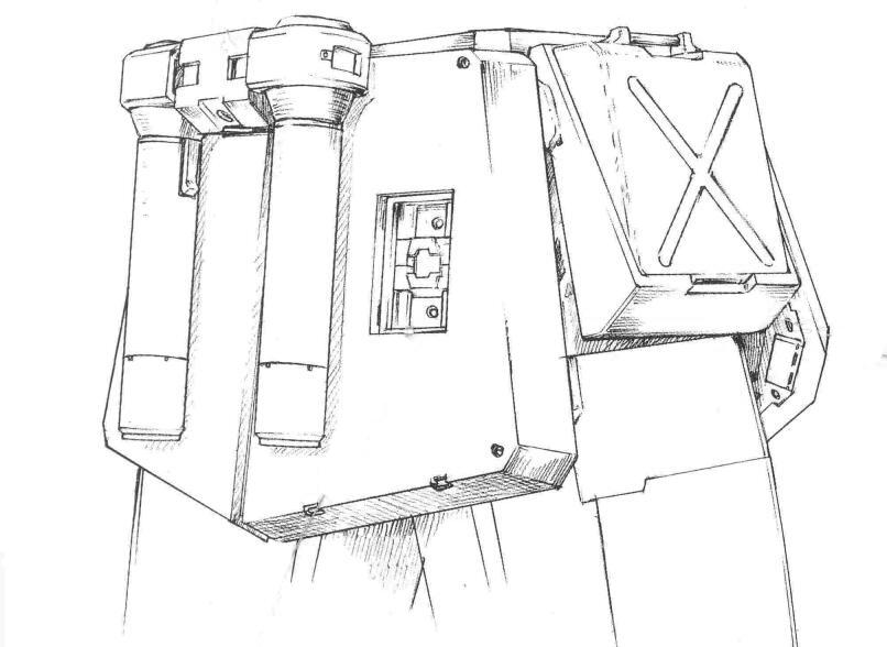 光束军刀从背包部分移动到后部裙甲部分。位置更低的光束军刀便于快速拔取。该设计为战后设计的部分MS继承。