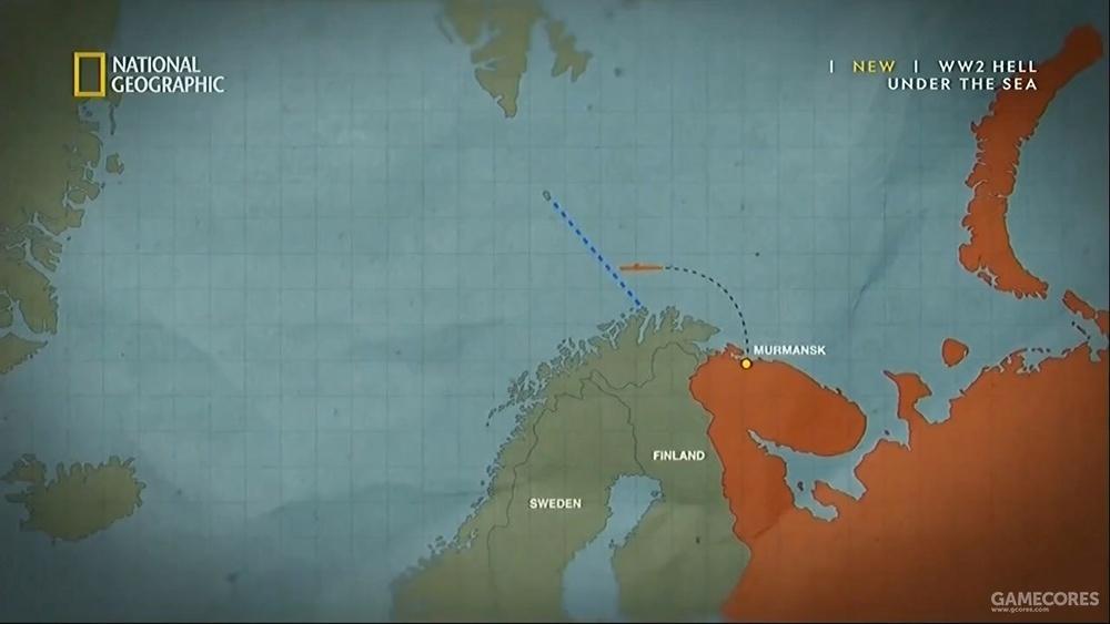 """诺卡普线,左上方的小岛是""""熊岛""""(Bear Island),下方的海角就是诺卡普海角,也叫北海角(North Cape)"""