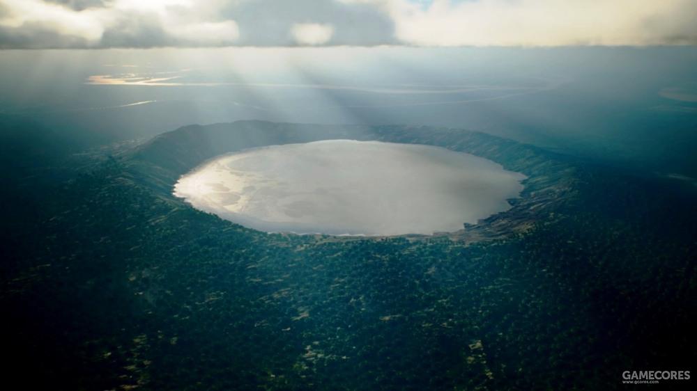 位于肖宾堡(Chopinburg)雨林的无名陨石坑,科学家预计该陨石坑形成的湖泊在未来仍然会是全世界最大的陨石坑湖