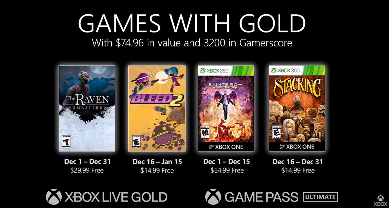 Xbox金会员12月会免游戏更新,《乌鸦重制版》、《Bleed 2》共四款游戏登陆