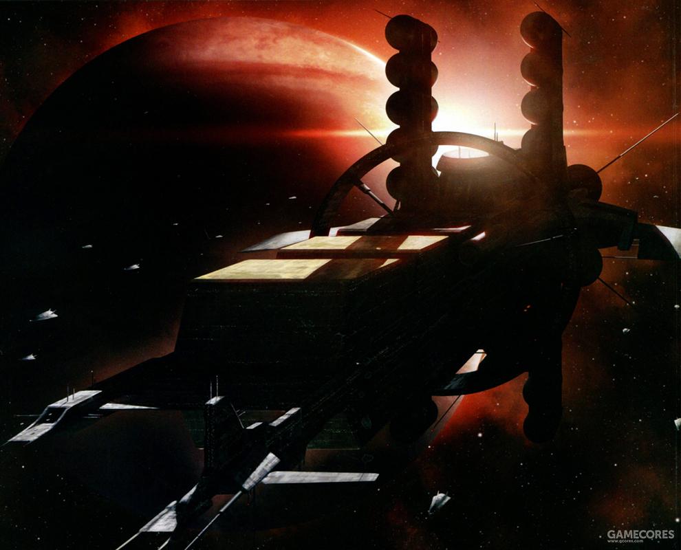 全长达2000米级的巨型运输船上设置了能通过自旋产生模拟重力的居住区结构以及能在航行中独立对本舰进行维修作业的舰载工厂。而船体上下总计20个罐状结构就是用于储存氦3的存储罐。单个存储罐就已经超过了一艘典型的宇宙战舰大小。其主要推力是核脉冲推进器,一般用于推动殖民卫星与资源卫星运动。可以说专用的氦3运输船就是一座巨型的太空站。