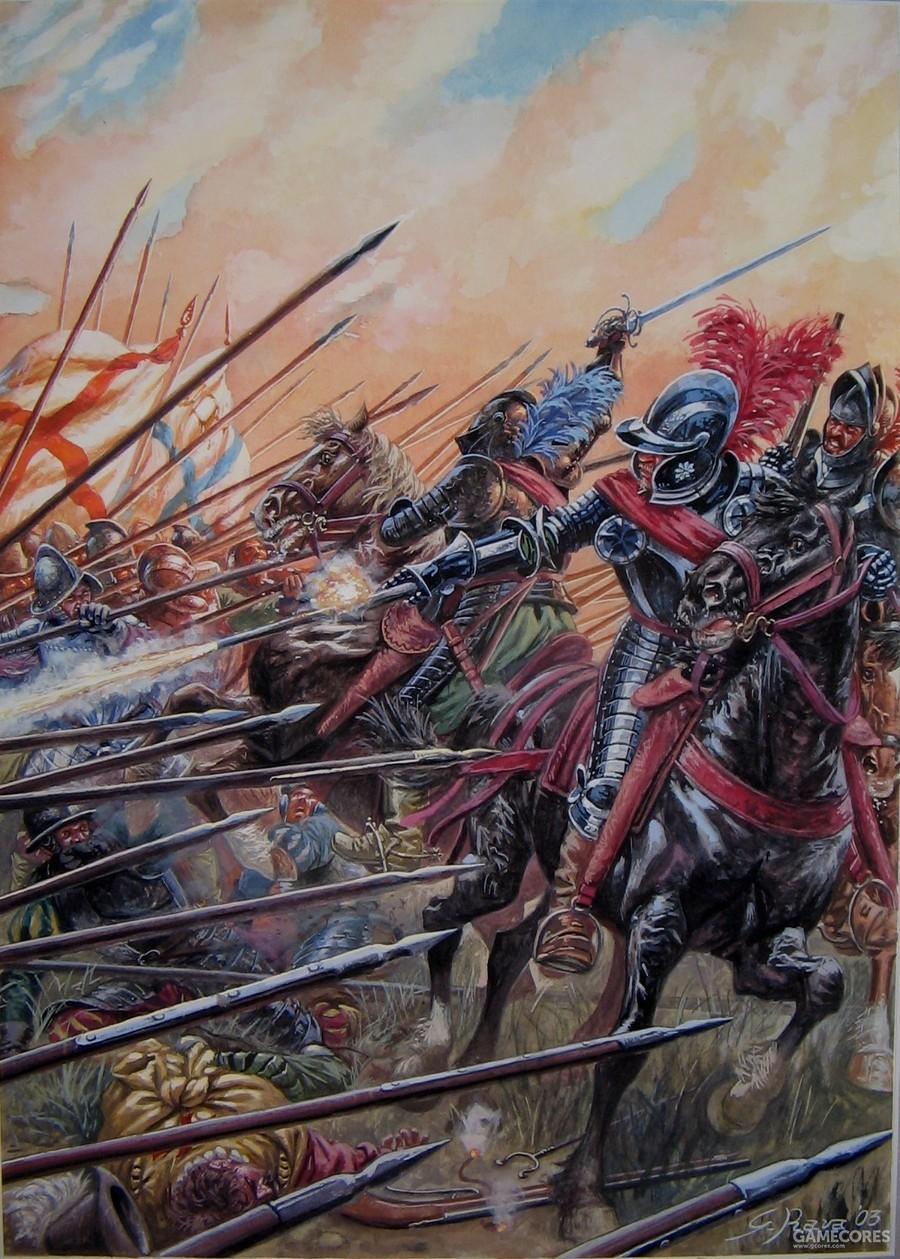 法国宗教战争中,亨利四世的胡格诺军中的黑骑士正在用手枪射击的半回旋战术攻击瑞士方阵