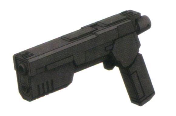 RGM-79SC装备的一型更为奇特的武装便是XBR-S-79b折叠式光束手枪。该枪作为近距离射击武器,以折叠形式挂载于机体右侧腰部。便于携带的特性使得其发展型在之后的依旧为部分隐秘作战任务的MS所配备。