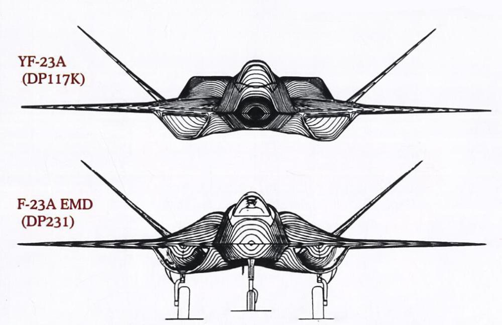对比YF-23,F-22A EMD的发动机舱除了厚度更薄外,机背发动机舱外形也更圆润,截面积明显缩小。