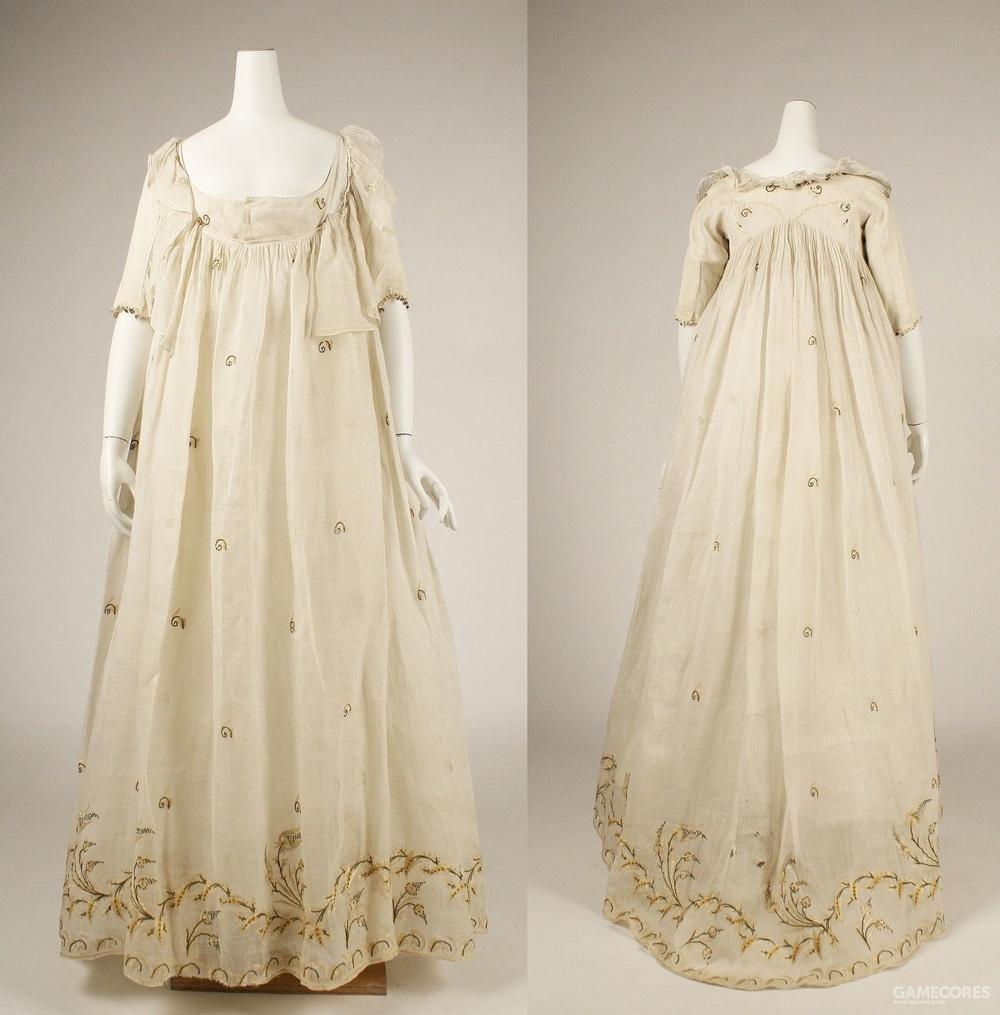 Dress, late 1790s (MET) 整体比较松身,可能是过渡款式