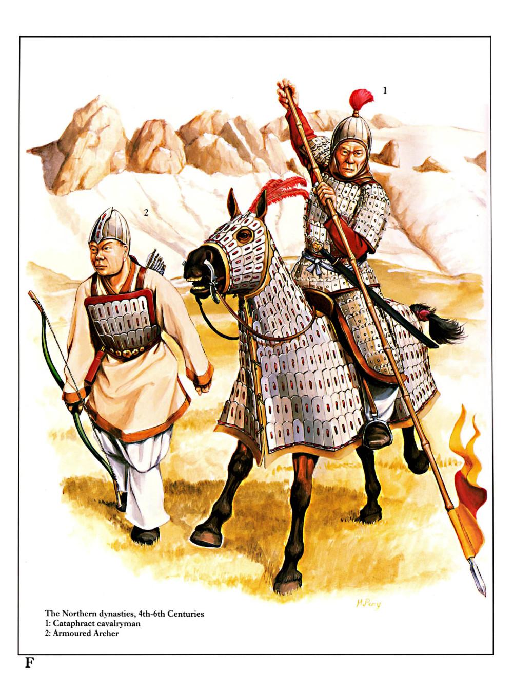 北朝甲胄骑兵,他已经装备了马鞍和马镫