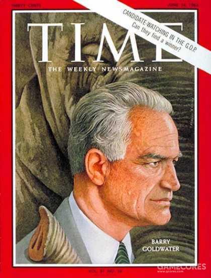 """巴里·莫里斯·戈德华特(Barry Morris Goldwater,1909年1月1日-1998年5月29日)是美国政治家,共和党人,于1953年-1965年、1969年-1987年代表亚利桑那州任参议员,1964年美国总统选举共和党的总统候选人。戈德华特曾任美国空军预备部队的少将,后从政。身为政治家,戈德华特被视为是1960年代开始美国保守主义运动复苏茁壮的主要精神人物,常被誉为是美国的""""保守派先生""""。"""
