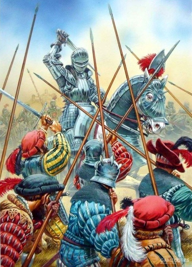 和德意志佣兵交战的敕令骑士