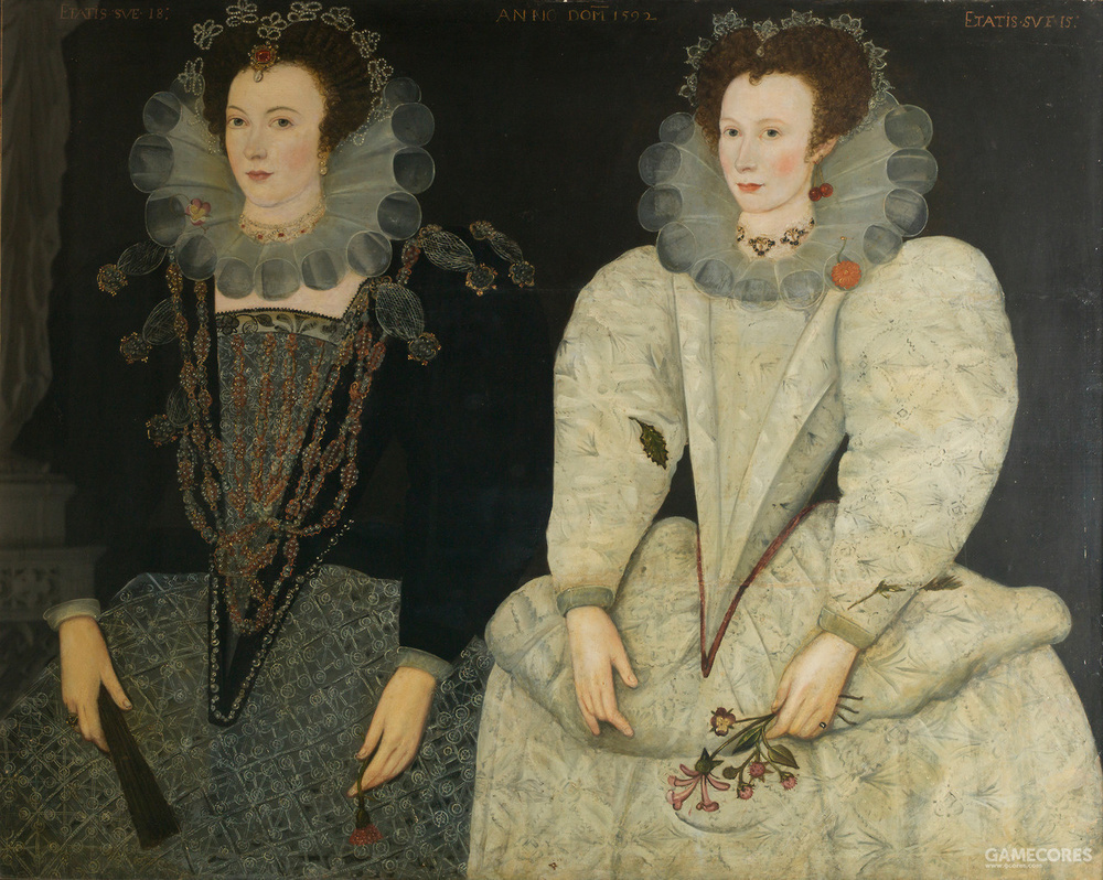 Double portrait by unknown artist of her sister Anne Newdigate and Mary Fitton, 1592