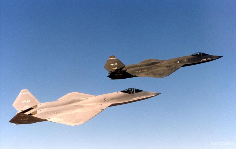 两架YF-23仅在1990年11月29日进行了唯一一次编队飞行。诺斯罗普为此特地安排了编队照相科目。