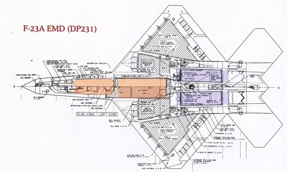 在F-23A EMD设计提案中,弹舱被修改为了厚度较薄但是分为前后两个弹舱的双武器舱设计。