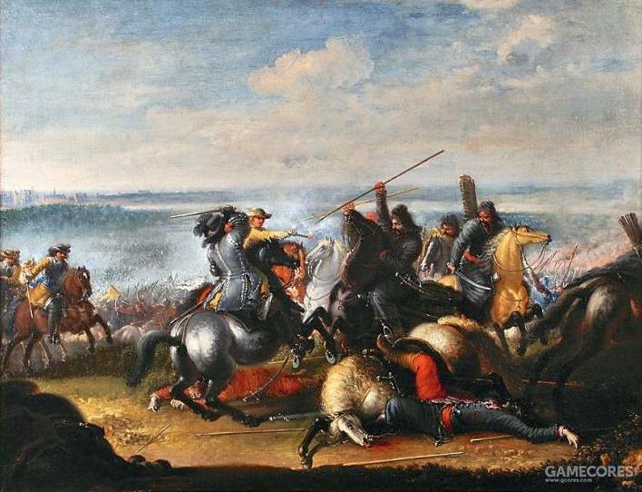 进攻华沙的卡尔·古斯塔夫十世和他的瑞典骑兵,正在和波兰鞑靼骑兵交战
