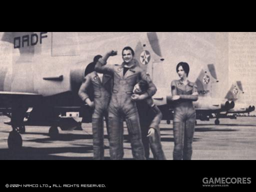 从左到右为Wardog 1 Blaze, Alvin·H·Davenport上尉,Hans Grimm空军一等兵和Kei·Nagase少尉