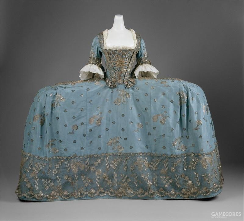 Court dress (Robe de Court), c 1750 (MET) 显示最高级场合的宫廷礼服可达到的宽度