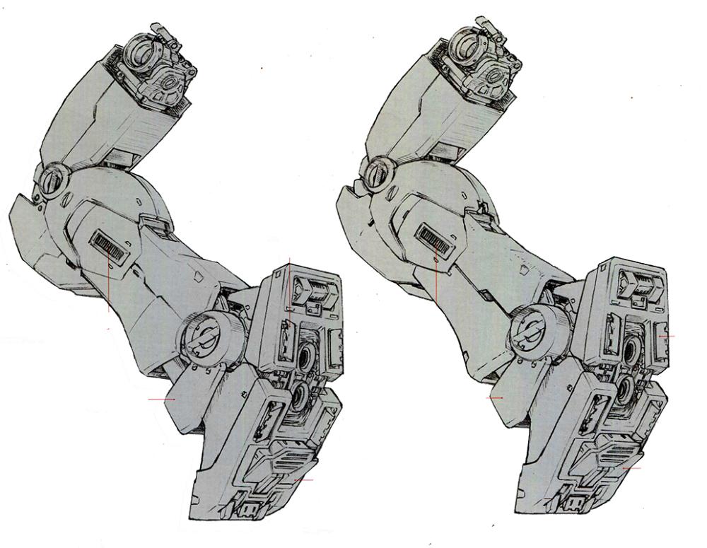 由于主要在城市环境中作战, 用处不大的膝盖部分辅助推进器被移除。为了弥补在重力环境下作战的燃料消耗,小腿部分追加了额外燃料储备,并在小腿后方预留了外挂燃料箱的接口。为了强化在镇暴任务中,对地面小型目标的辨识能力,小腿前方也追加了额外的传感器镜头。