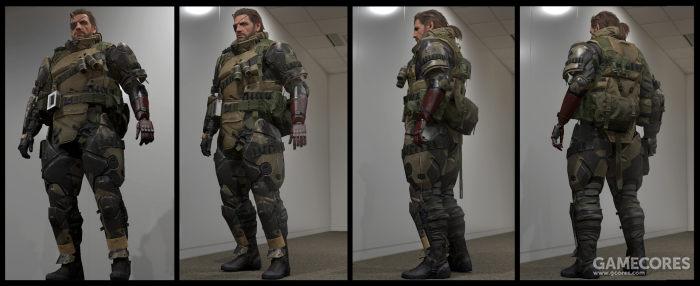 相对于轻便的战斗服配置,毒蛇的重甲(Battle Suit)虽然看上去更复杂,但除了一些复用的装备素材,护甲和其他装具并无具体的现实原型
