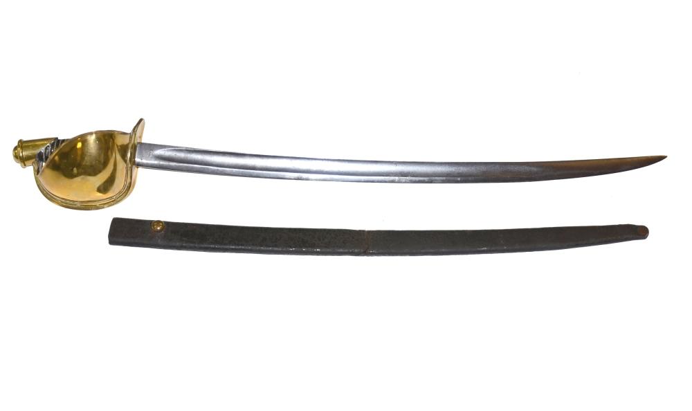 M1860式弯刀是南北战争期间联邦海军士兵的武器之一,有着巨大的黄铜护手,剑身单刃并在剑尖开双刃