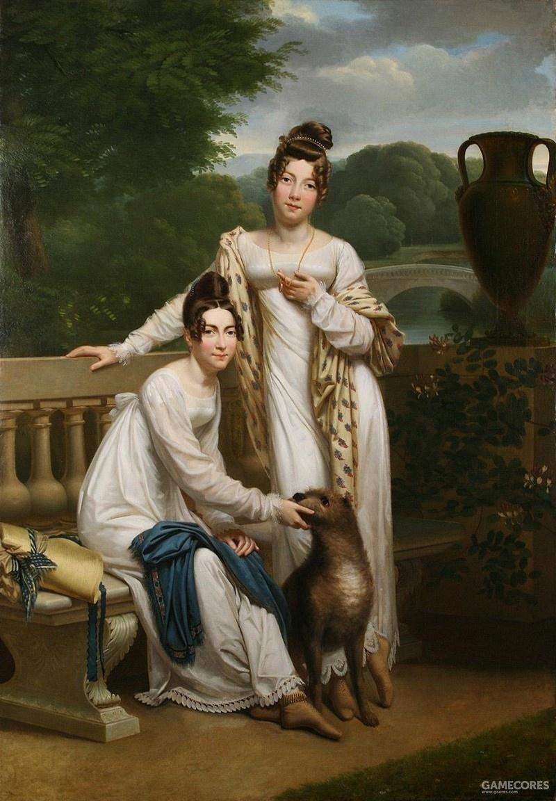 Portrait de Demoiselles de Balleroy dans un paysage avec un chien by Henri-François Riesener (1805-1815)