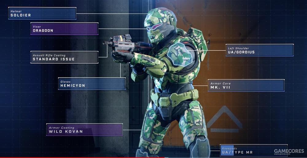 护甲的细化自定义,可选择成套装甲,细化的部位页面分为七大类(头盔、面甲、枪械涂装、手甲、腿甲、肩甲、装甲涂装),每个大类不同的颜色代表其不同的稀有度