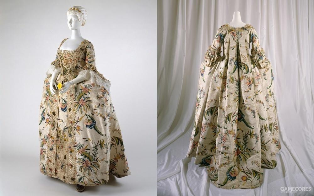 Robe à la Française, 1740s (MET)