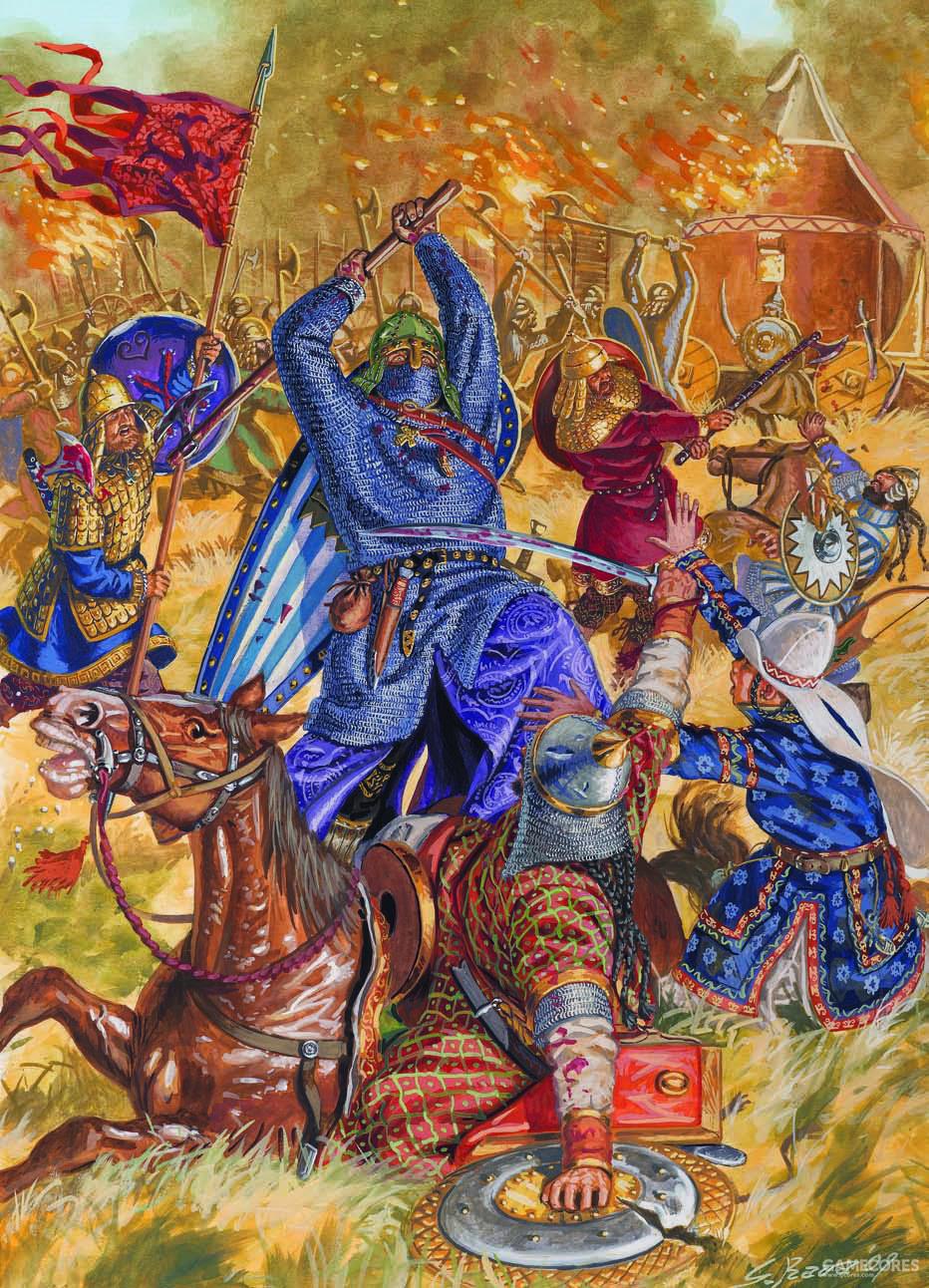 和佩切涅格人交战的瓦兰吉卫队,他们在战斗时都是步战