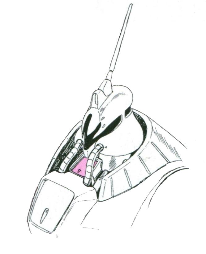 PMX-001的驾驶舱设计在了胸口部分,驾驶舱门也相应移动到了头部正下方。厚重的胸口装甲配合颈部周围装甲构成驾驶舱的周密防护。