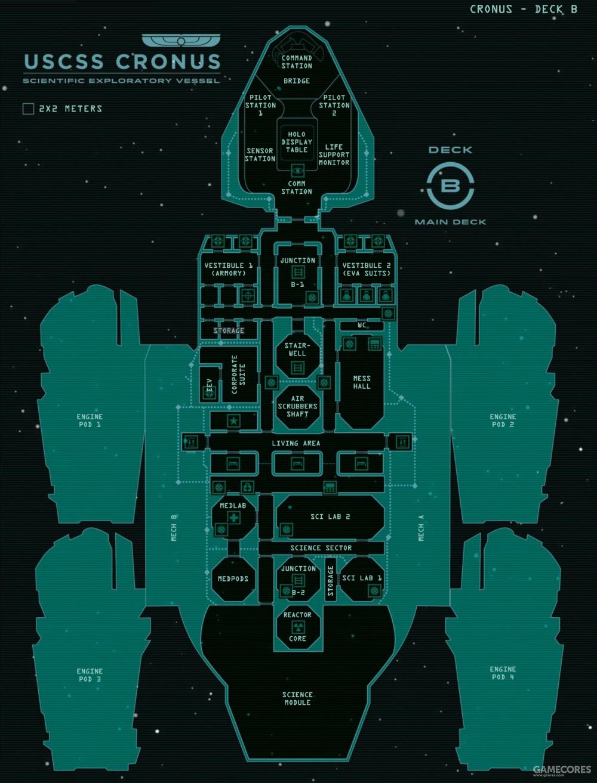 """""""克洛诺斯""""号B层甲板的地图"""