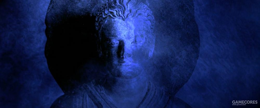犍陀罗佛像,典型的希腊佛像艺术,头发卷曲,有些甚至有胡须