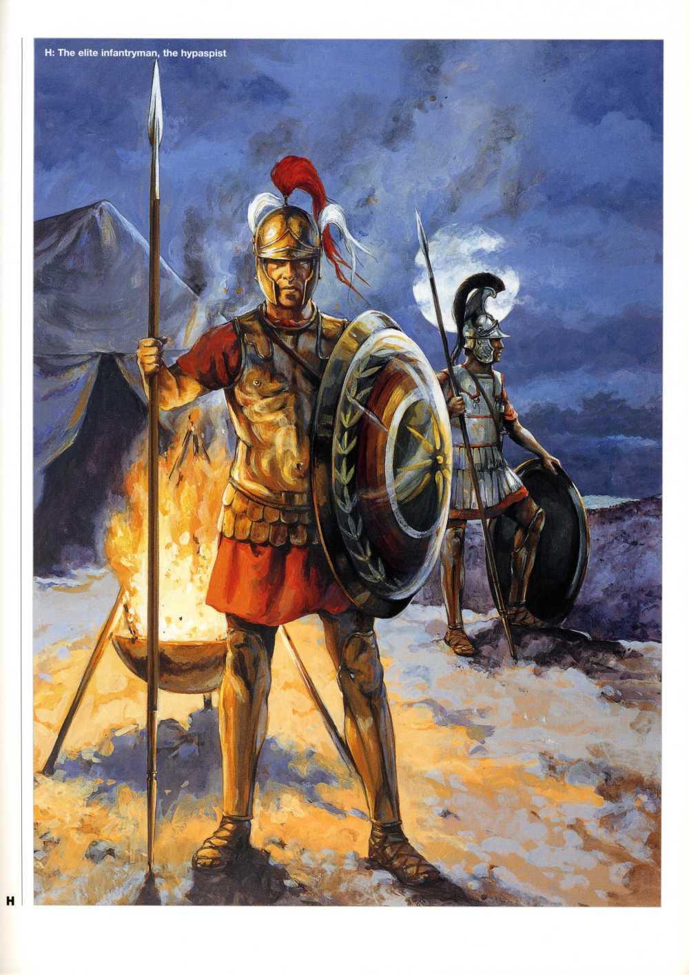 披甲的持盾卫兵,右边的头盔已经采用了铁制。他们使用的长矛比方阵步兵更短,一只手就可以操作