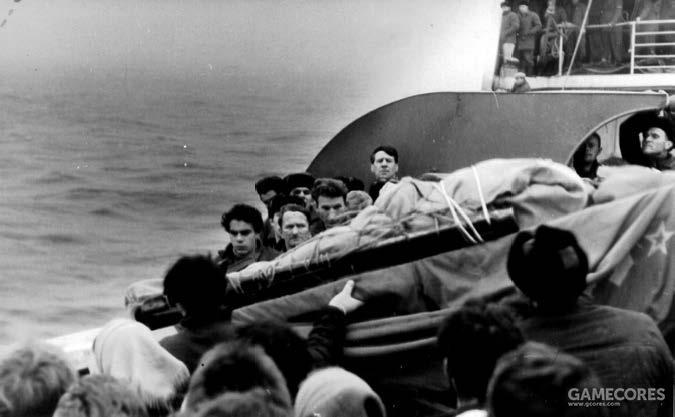 一位落水死去的苏联船员的葬礼仪式