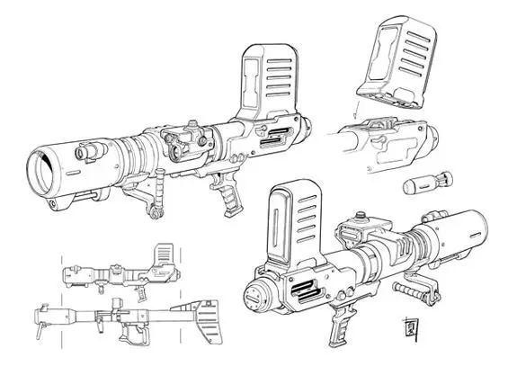 不同传统的MS用火箭炮,身管级短的该型火箭炮能够以MS单手握持形式发射。瞄准设备放弃了通用的光学瞄准镜转而使用激光瞄准镜。