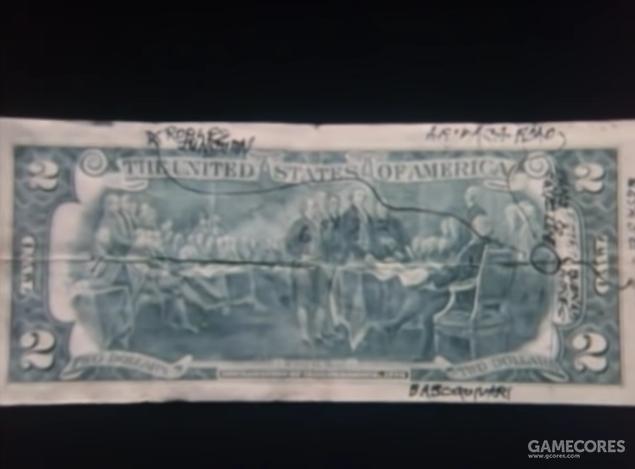 两美元钞票的背面画着一张简略的地图