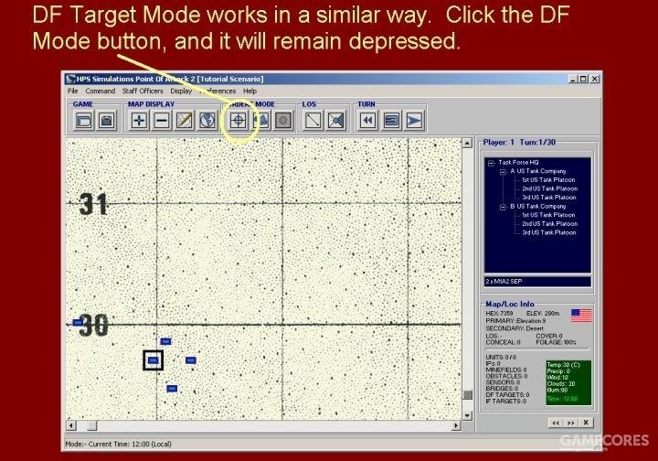 目标模式(DF Target Mode)以同样的方式运作。点击目标模式按钮,它将保持被按下的状态。